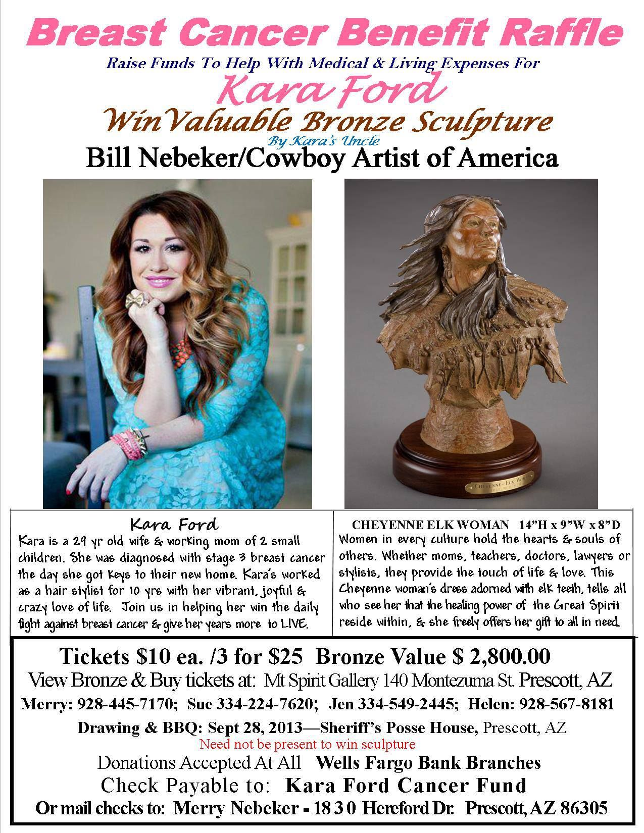 Help Kara out by buying a raffle ticket. Great sculpture for a great person