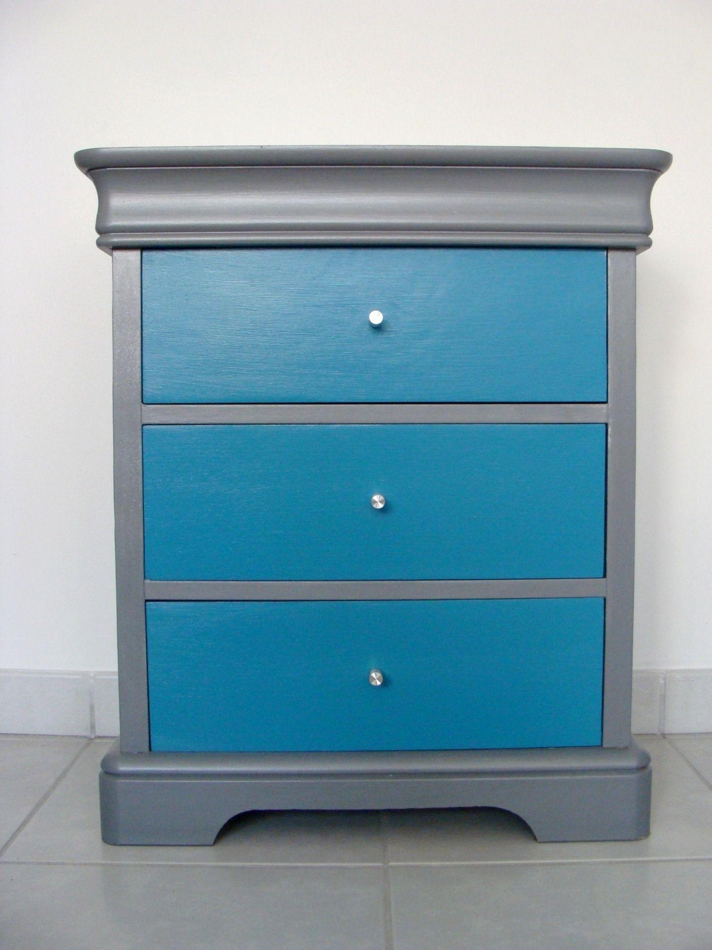 meuble chevet commode en merisier bleu turquoise gris meubles et rangements par chez v renise. Black Bedroom Furniture Sets. Home Design Ideas