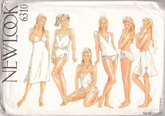 New Look 6310 80s Misses LINGERIE Slips Teddy French Knickers Panties Camisole Womens Vintage Sewing Pattern Size 8 - 18  Bust 31 - 40 UNCUT