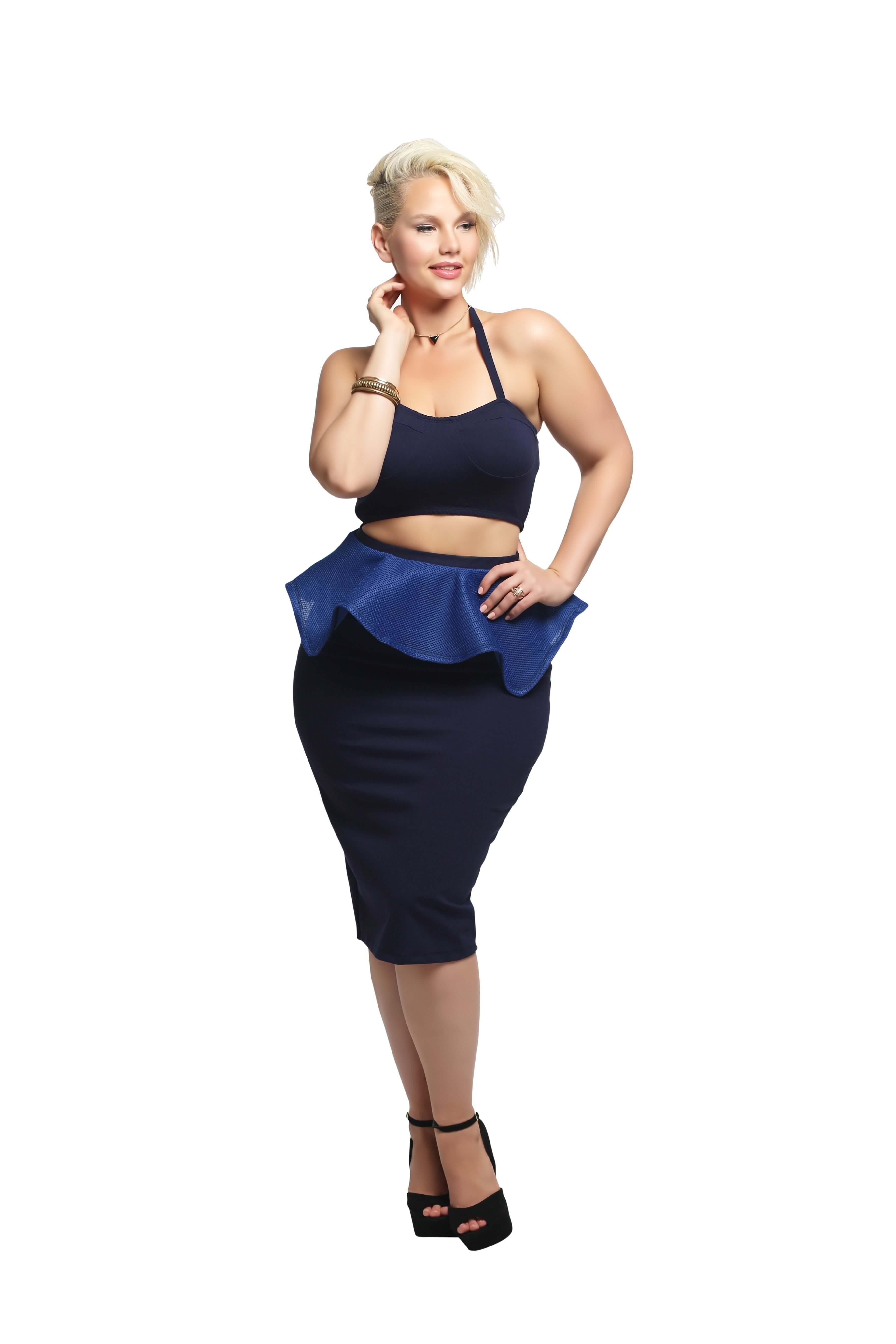 'Shannon' Peplum Skirt - Navy