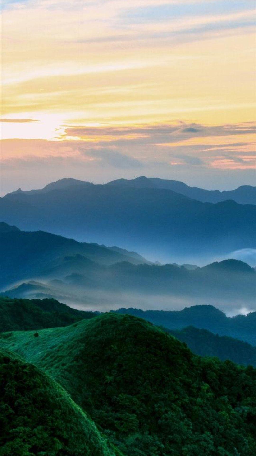 Nature Mist Mountains Hill Sky Landscape iPhone 7