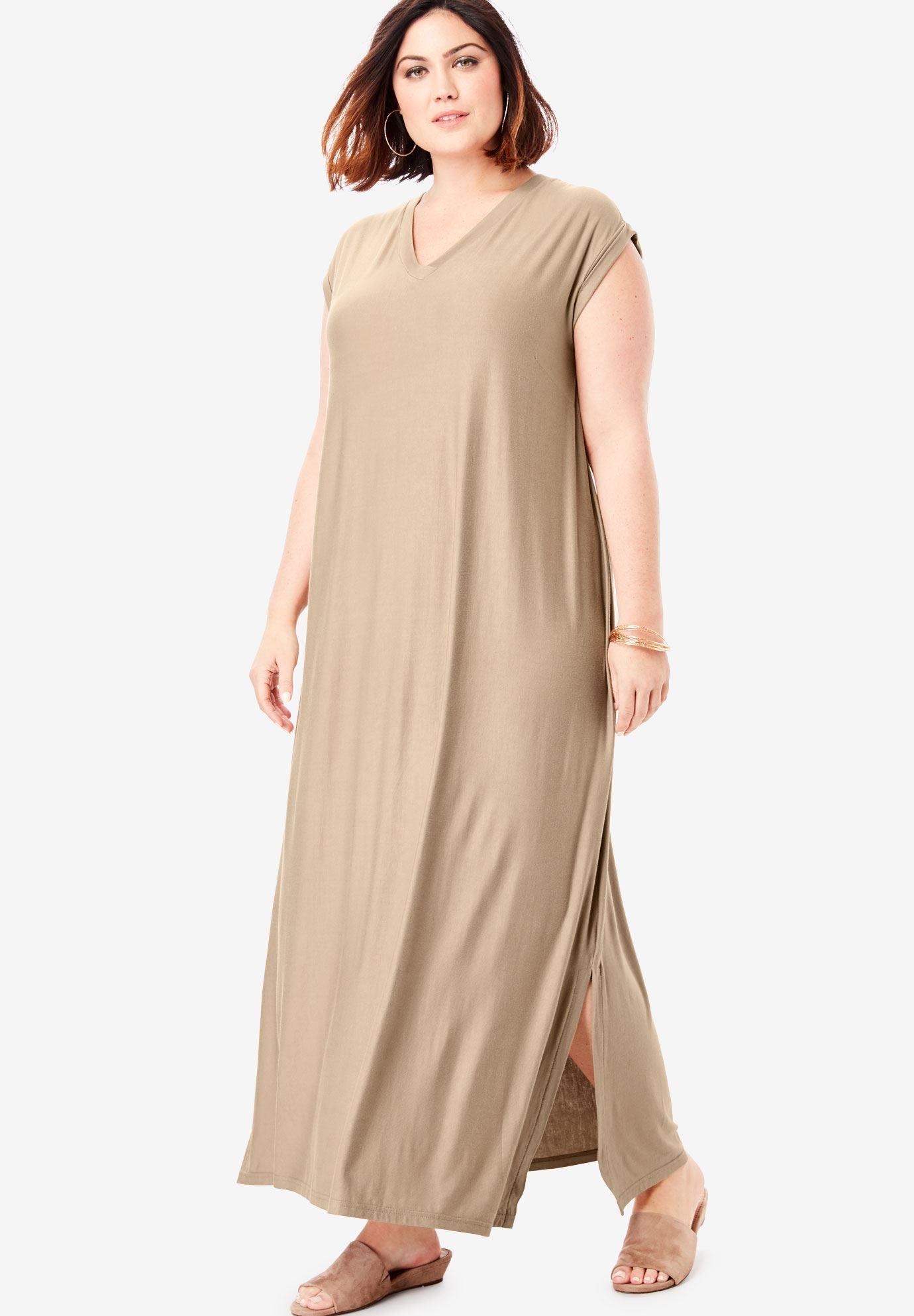 Side-Slit T-Shirt Dress | Plus Size Casual Dresses ...