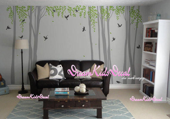 Nursery wall decal white tree with birds baby by DreamKidsDecal