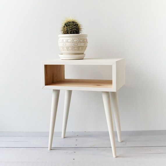 bedside table mid century modern furniture nightstand wood table scandinavian style bedroom furniture white table ald 0004w - Mitte Des Jahrhunderts Modernen Stil Interieur