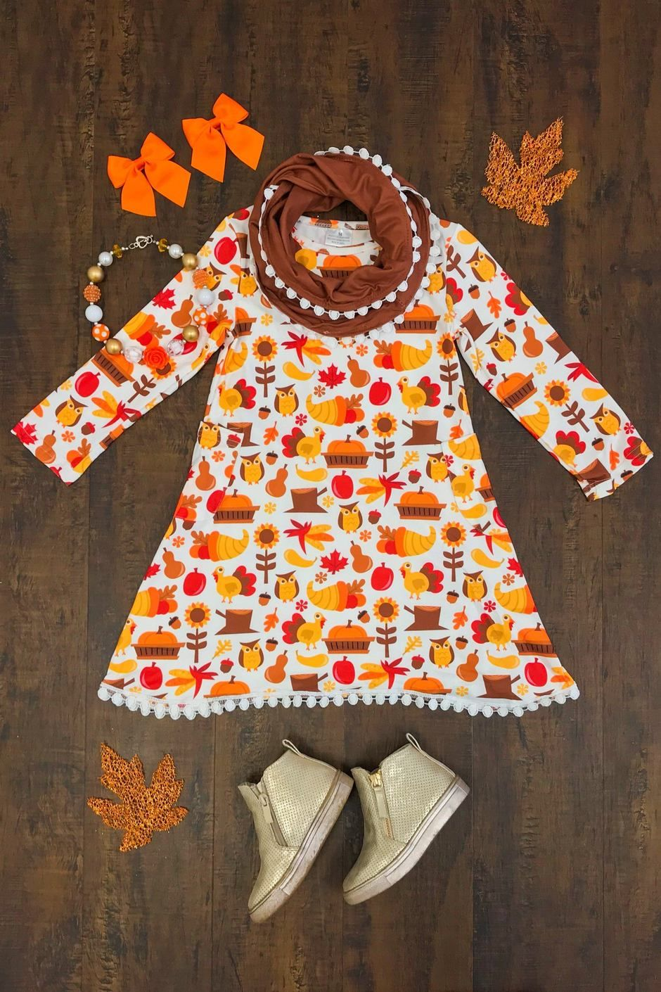 Give Thanks Thanksgiving Dress with Scarf  Thanksgiving dress