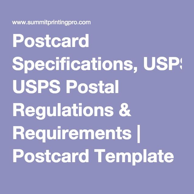 Postcard Specifications Usps Postal Regulations  Requirements