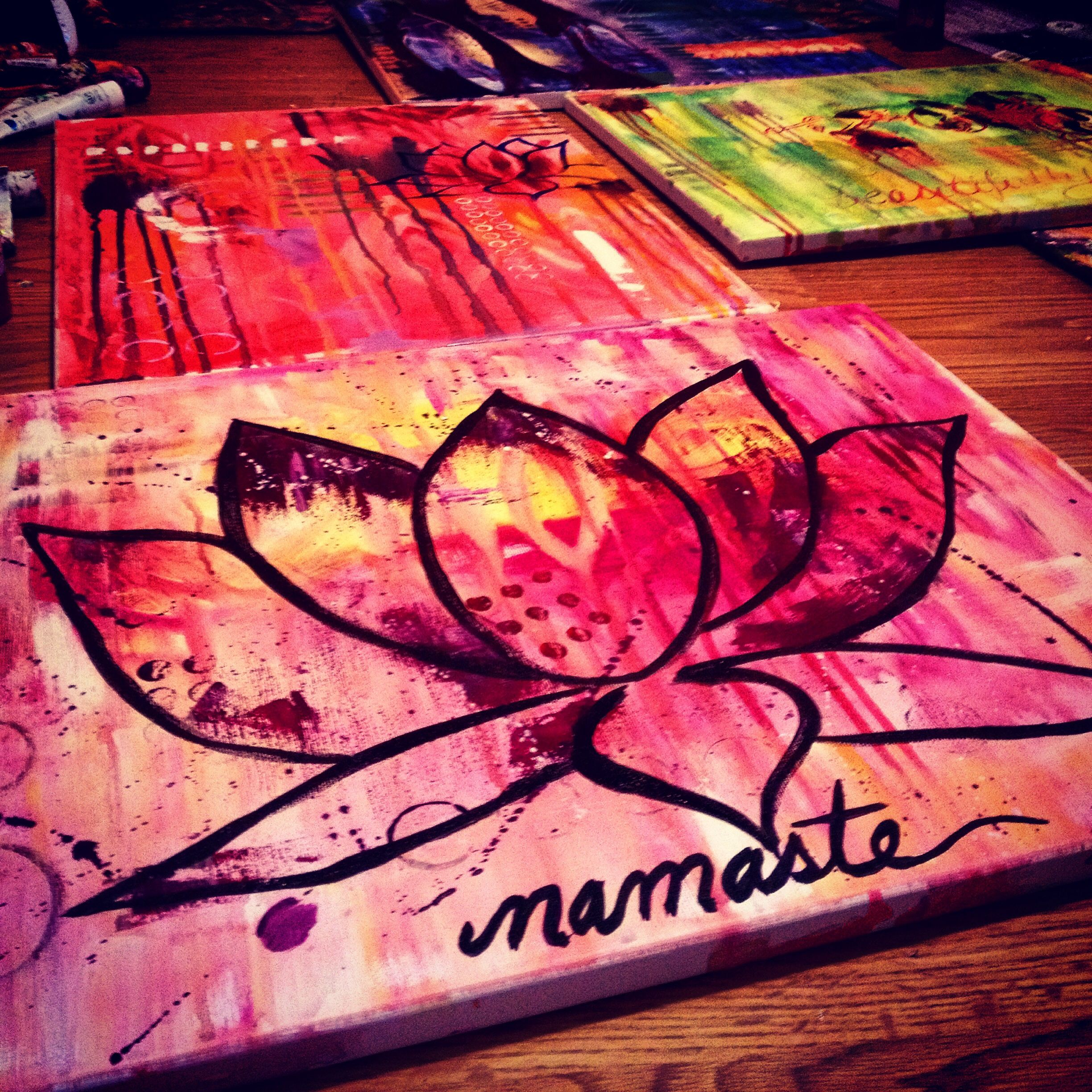 Namaste lotus flower yoga abstract acrylic painting on canvas what a