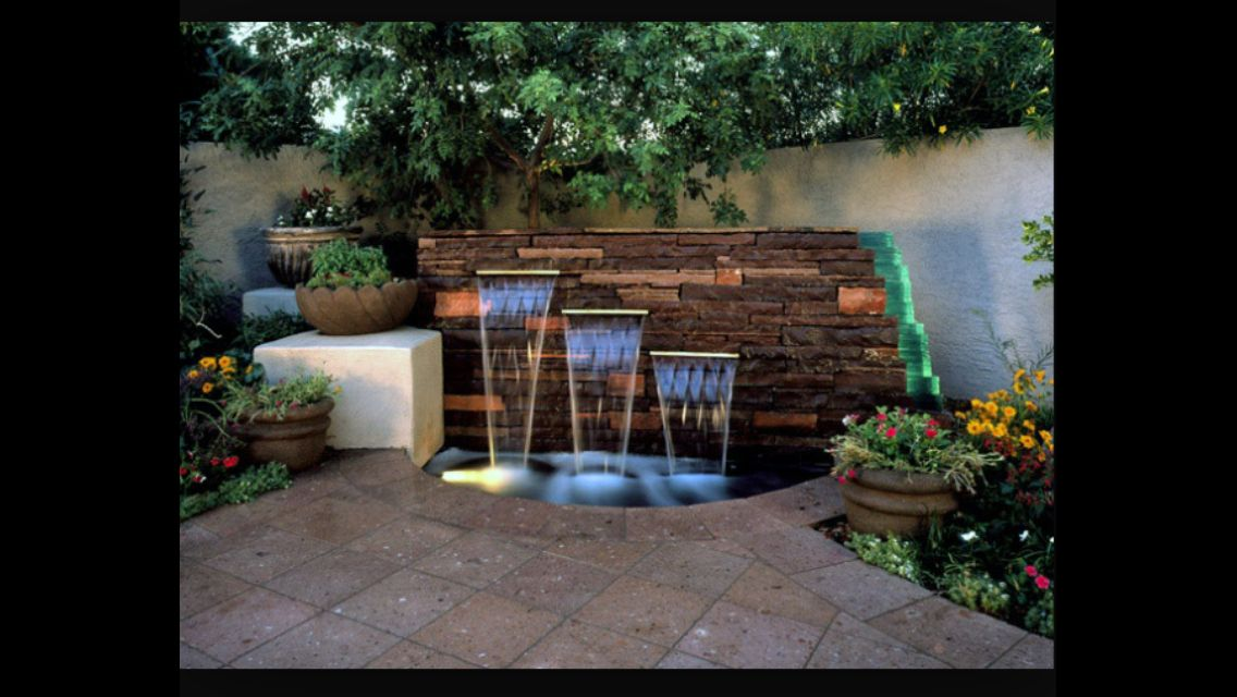 Corner feature with lighting water features pinterest for Front garden feature ideas