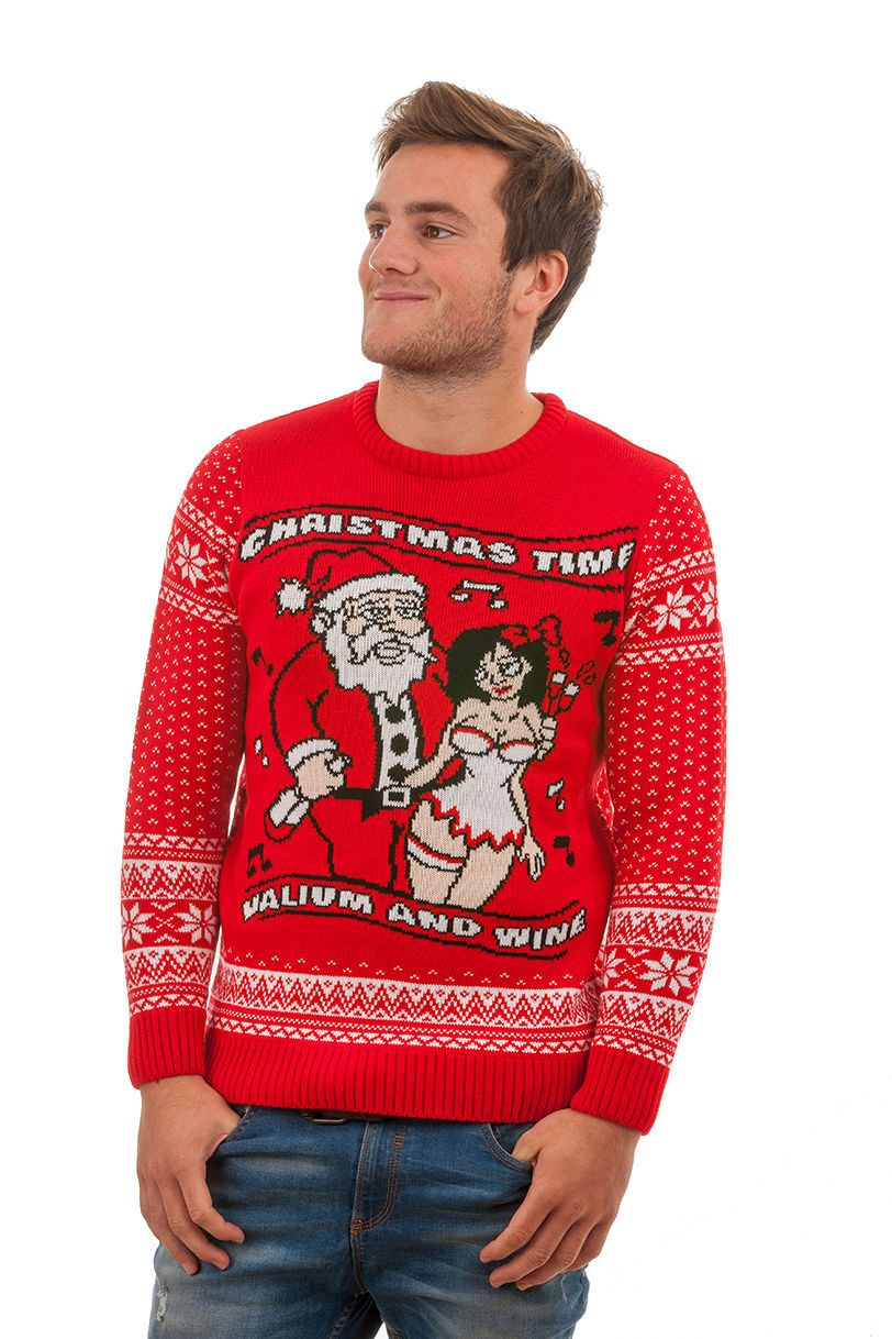 Tacky 'Valium and Wine' Christmas Sweater For Men - Front View ...