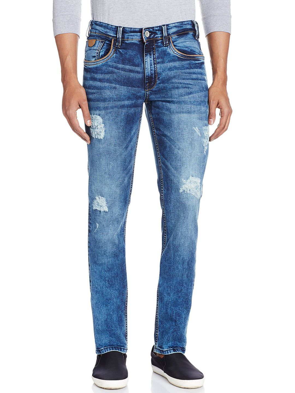 Izod blue denim plain slim fit men jeans slim fit mens