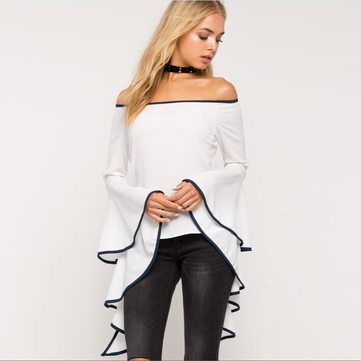 438cd394ab00 Women Sexy Long Sleeve Tops Off Shoulder Casual Blouse Loose Chiffon T- Shirts | eBay
