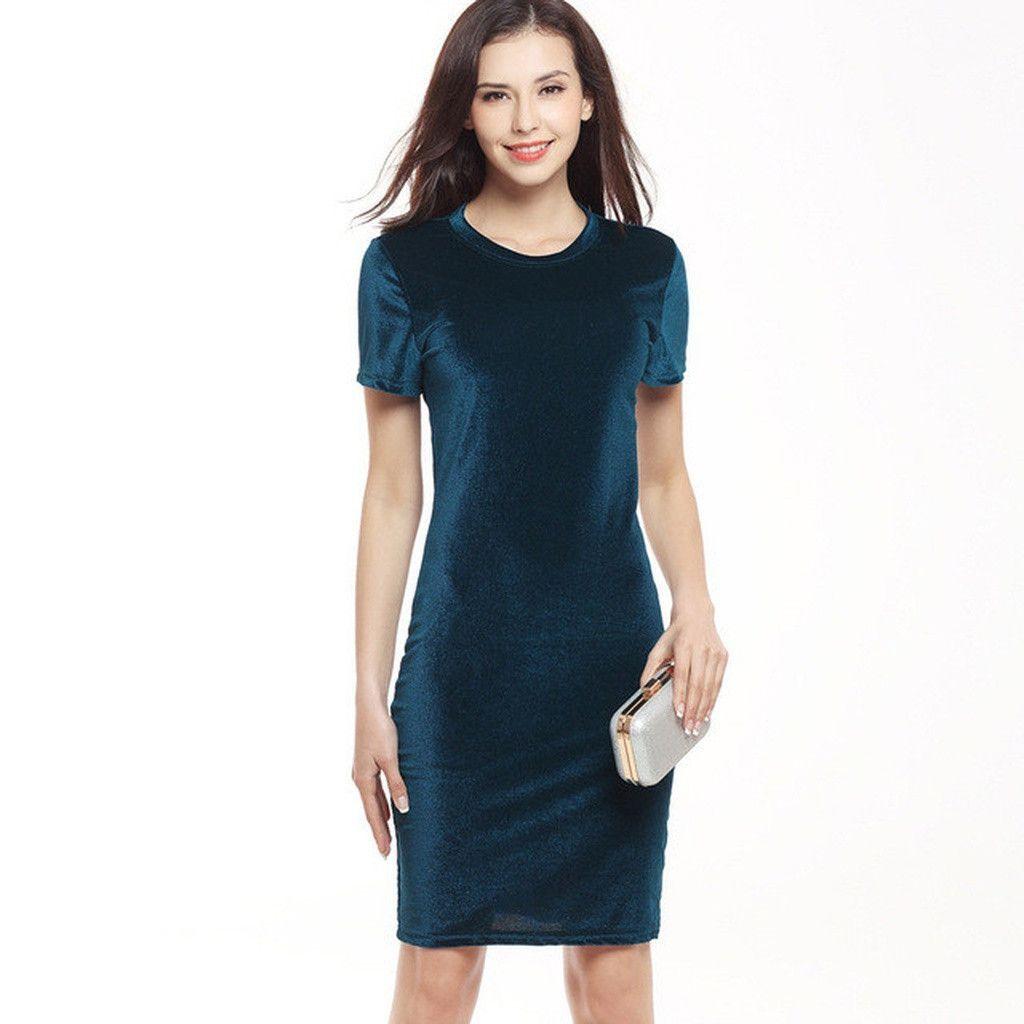 5bd83b3df1 Women Velvet Dress Green Black | Products | Dresses, Short sleeve ...