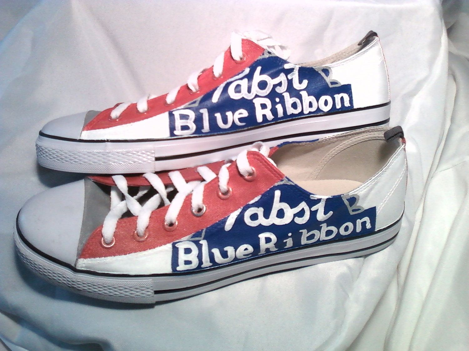 b95520aabbe490 Canvas Pabst Blue Ribbon shoes Made to order by Upteepaintings ...