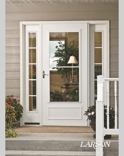 The Midview White Storm Door Adds Traditional Detailing To The Front Entry Welcomehome Mylarsondoor Storm Door Makeover White Storm Door Exterior Doors