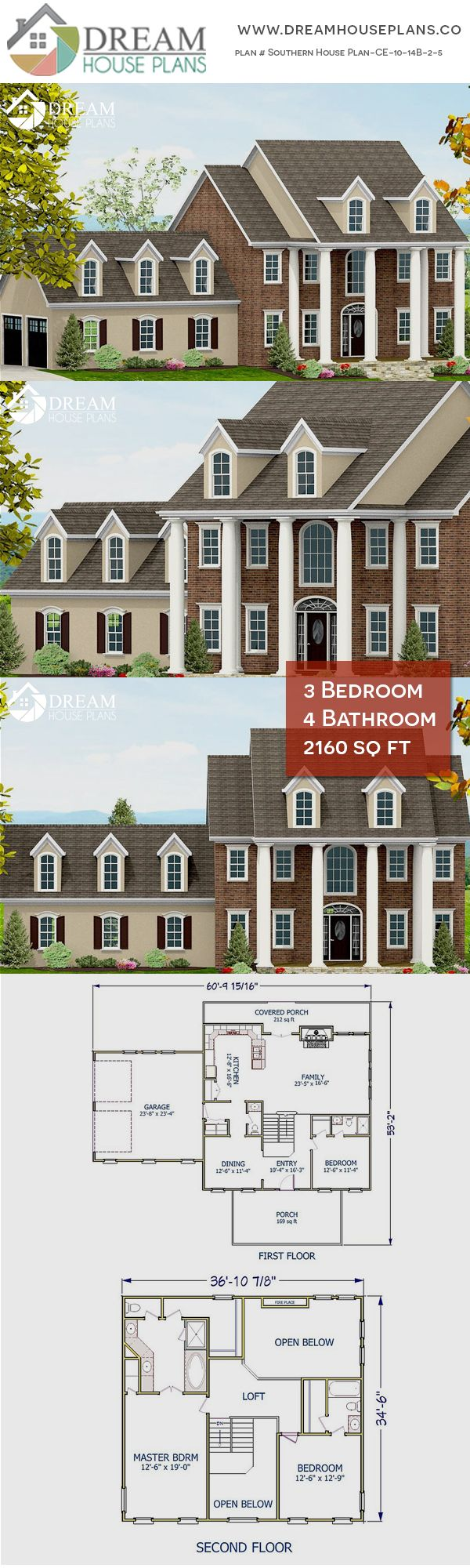 3 Bedroom 4 Bathroom 2160sq Ft Southern House Plan Ce