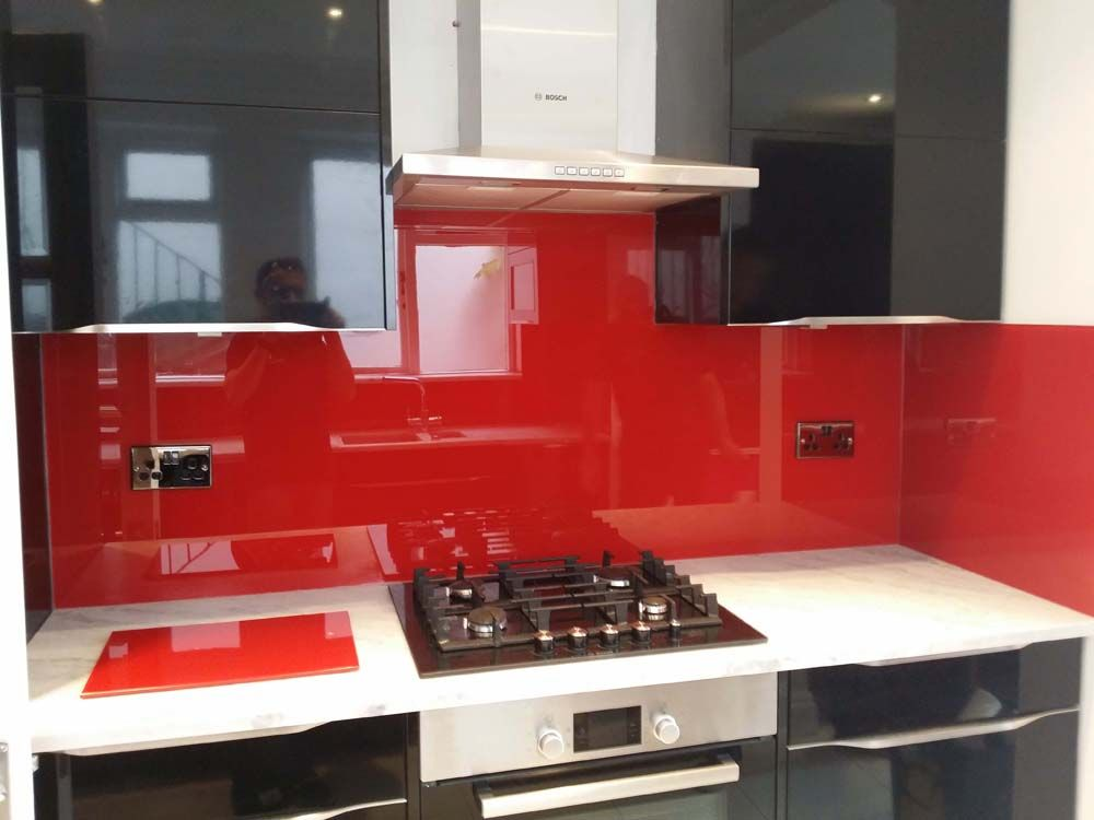 Signal Red Kitchen Glass Splashbacks And Matching Chopping Board By  CreoGlass Design (London,UK