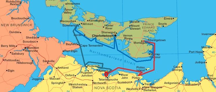 PEI map. We purchased Canadian charts before we left and read cruising information on the internet. Because US phones would not work in Canada, ...