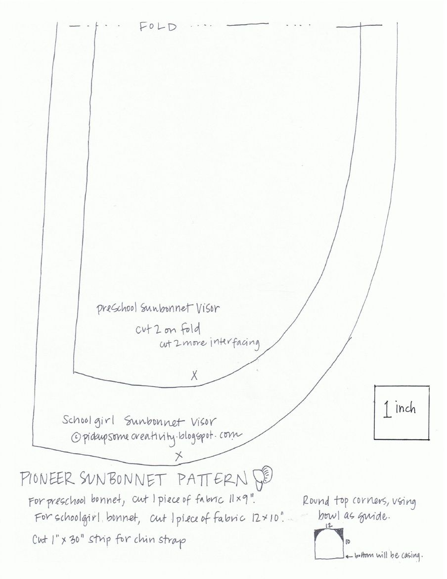 Sunbonnet Pattern | Patrones | Pinterest | Costura, Patrones y Gorras