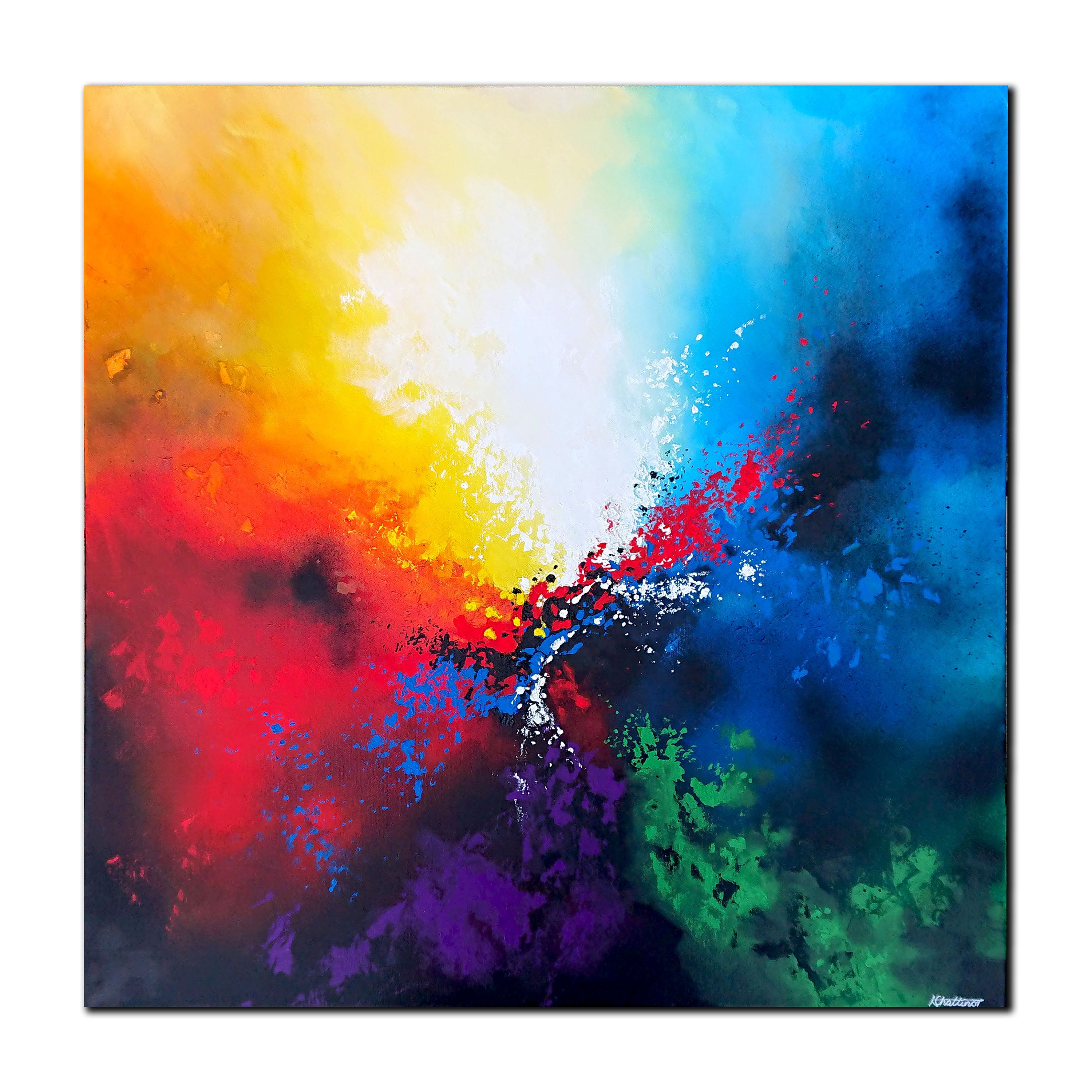 Blue Sky Painting Original Painting Landscape Abstract Vertical Painting Canvas Oversized Wall Art Abstract Purple Rainbow Painting