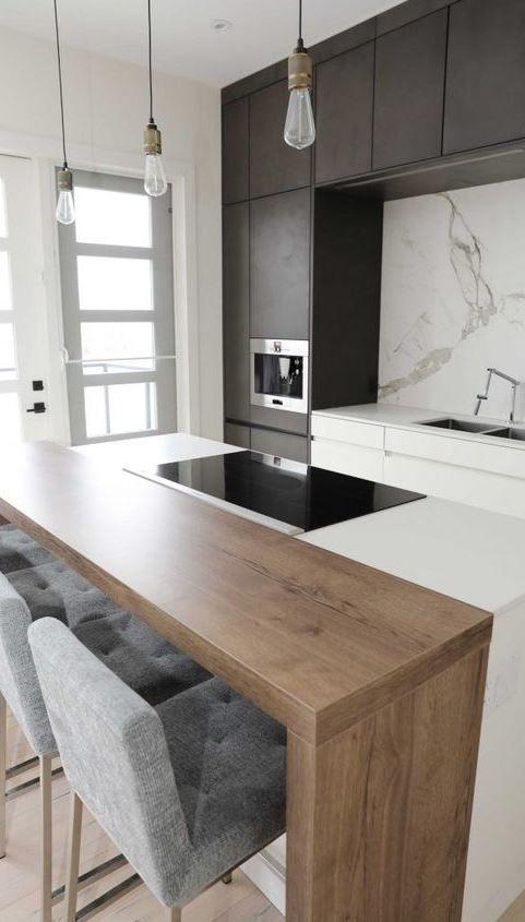 Couleurs de cuisine ; blanc • bois • noir (charcoal) • & dosseret ...