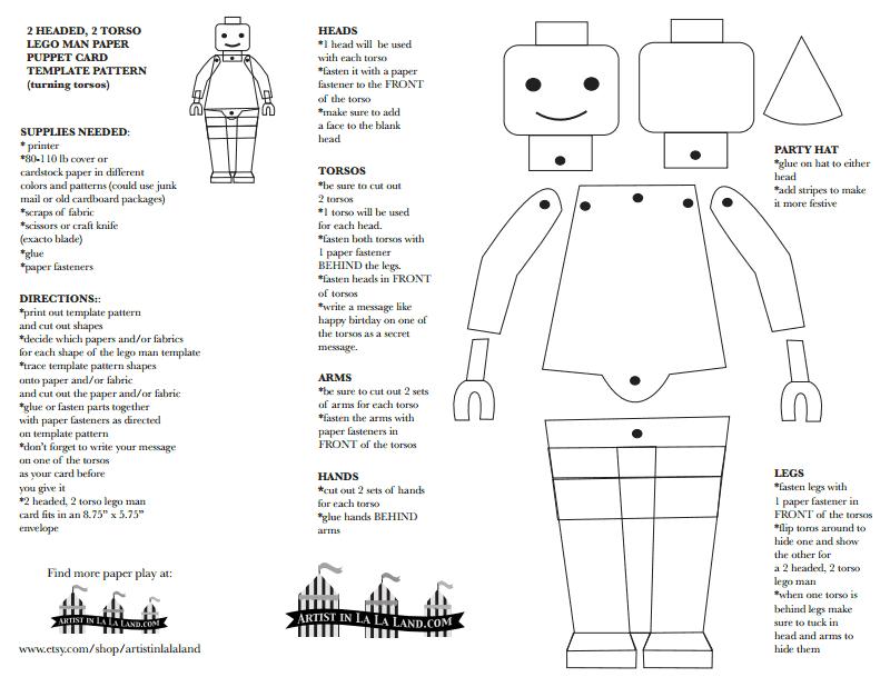 lego men paper puppets card template pattern pdf google drive