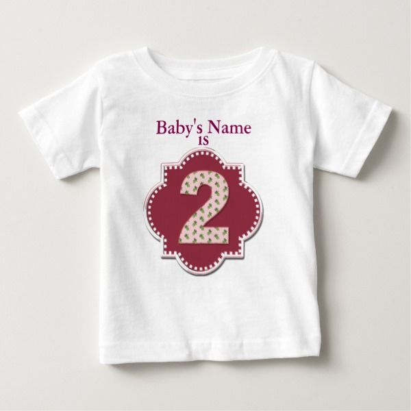"""(Baby's Name) is 2"" by Leslie Harlow Baby T-Shirt # ..."