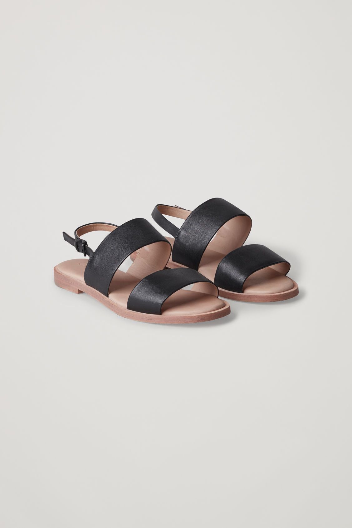 Front Image Of Cos Leather Strap Sandals In Black Leather Strap Sandals Shoes Strap Sandals