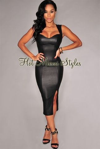 0a51447f8e Black Faux Leather Key-Hole Back Padded Midi Dress Womens clothing clothes  hot miami styles hotmiamistyles hotmiamistyles.com sexy club wear evening  ...