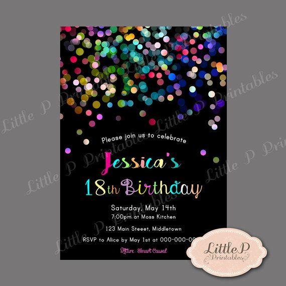 18th birthday invitation  sprinkles confetti by littlepprintables