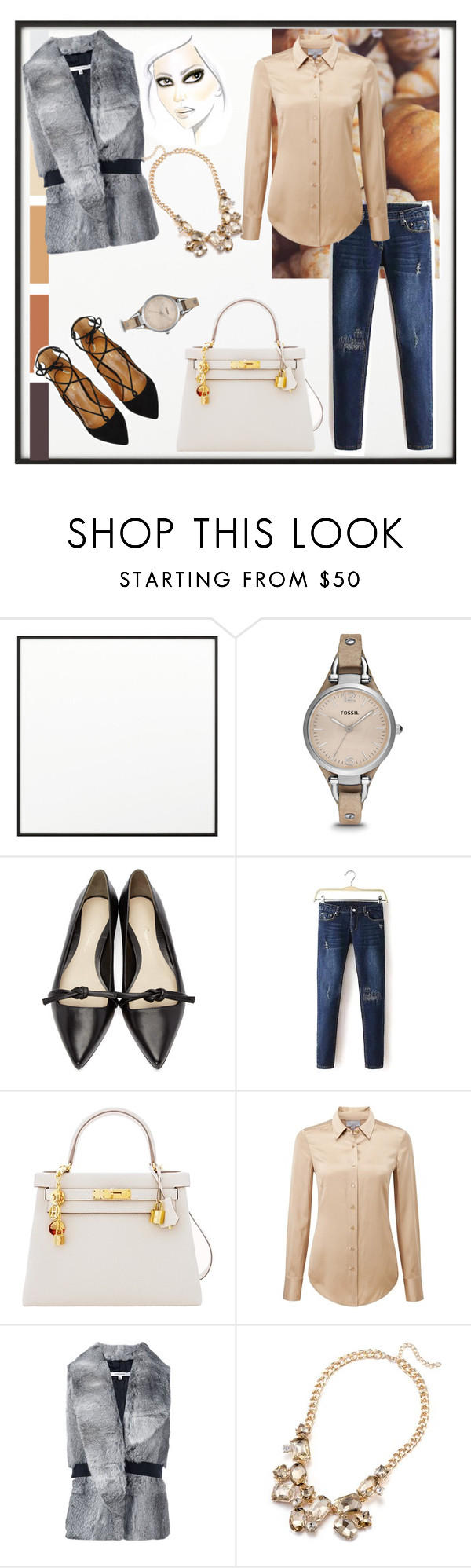 """""""Untitled #349"""" by blackparrott ❤ liked on Polyvore featuring By Lassen, FOSSIL, 3.1 Phillip Lim, Hermès, Pure Collection, Carven and Aquazzura"""
