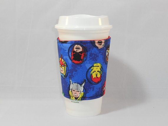 Slide On Coffee Cozy Made With Marvel Inspired Fabric