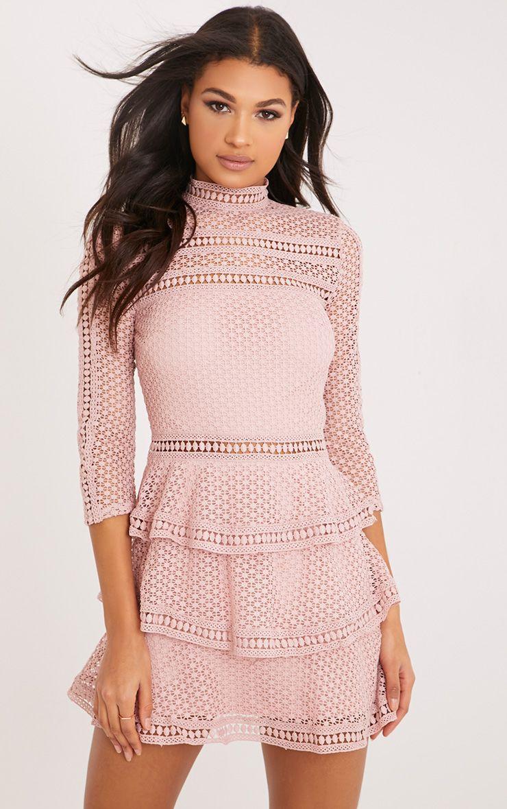 Caya panel de encaje rosa polvoriento con gradas del mini vestido ...