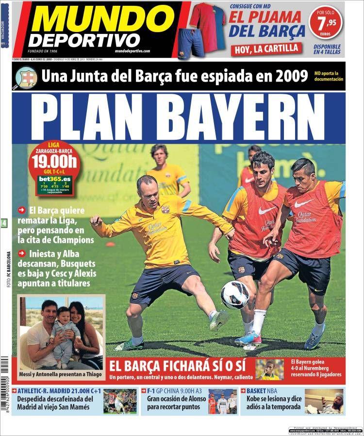 Los Titulares y Portadas de Noticias Destacadas Españolas del 14 de Abril de 2013 del Diario Mundo Deportivo ¿Que le parecio esta Portada de este Diario Español?