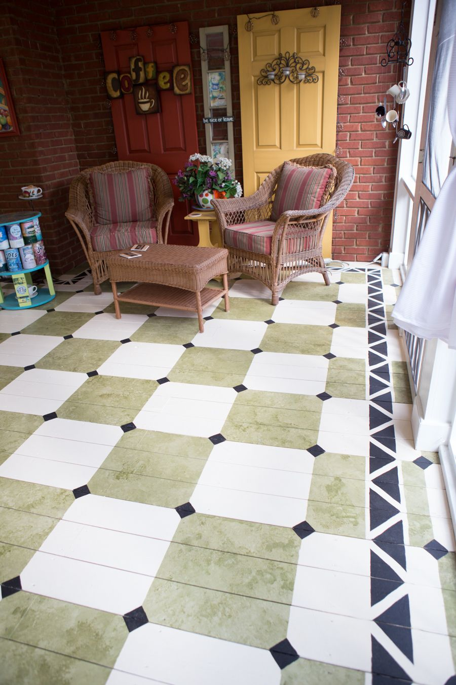 Painted porch floor! So cute! Painting tile floors