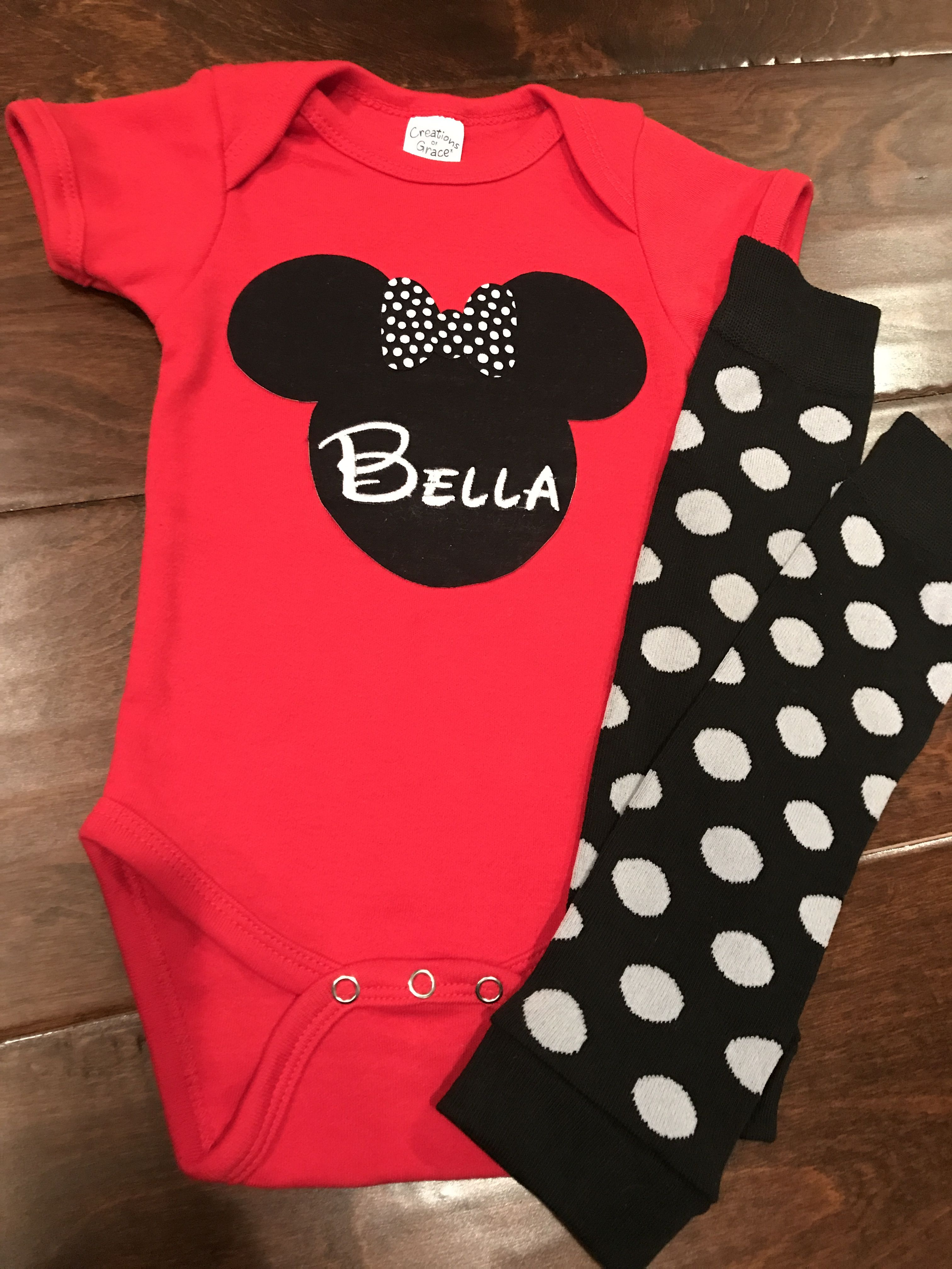 Personalized Minnie Mouse esie Bodysuit with adorable polka dot