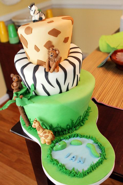 Topsy Turvy Jungle Cake Maybe For Clanceys 1st Birthday For