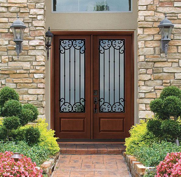 Beautiful Entryway Featuring Glasscraft S Estate Premium Fiberglass 8 Ft Double Door Mediterranean Front Doors Fiberglass Entry Doors Double Front Entry Doors