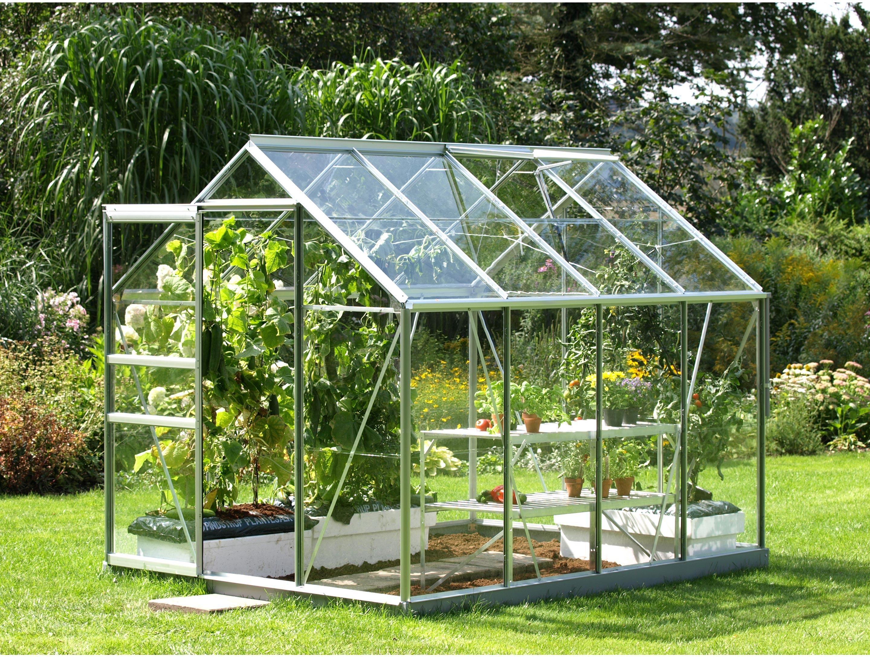 Serre De Jardin En Verre Trempe 3 Mm Lams Allium Venus 5000 Alu 4 96 M Lams En 2020 Maison Verte Plans De Serre Et Construire Une Serre