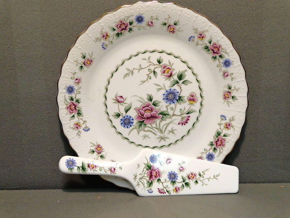 & Cake plate and server andrea sadek made in japan floral