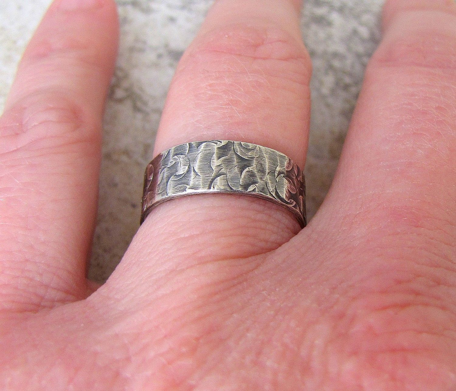 engraved wedding band hammered silver wedding ring by silversmack