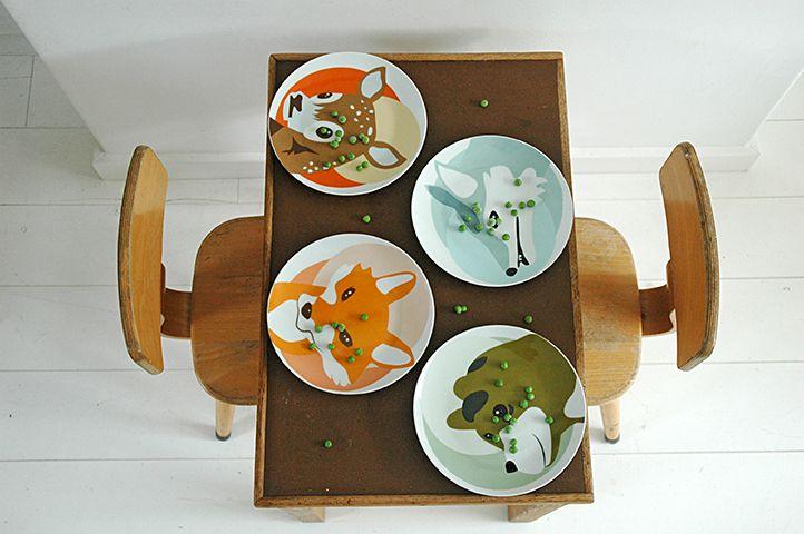 Plates, forest animals