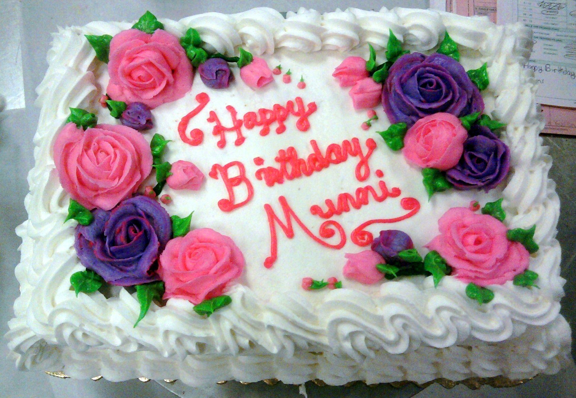 Vegan Pink And Purple Roses Birthday Sheet Cakes