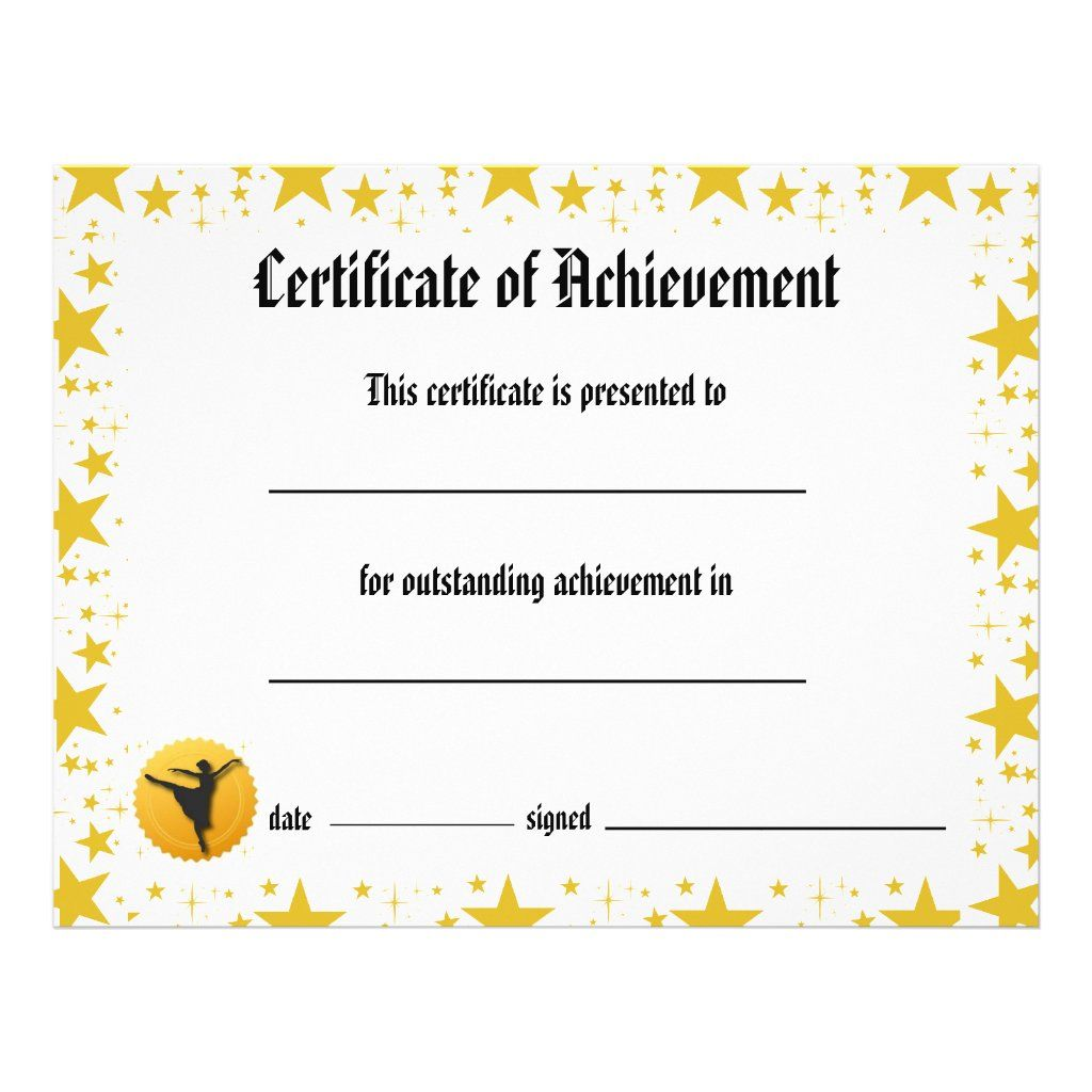 Dance Certificate Of Achievement Stars Arabesque Flyer Zazzle Com Certificate Of Achievement Achievement Certificate Dance certificate templates for word