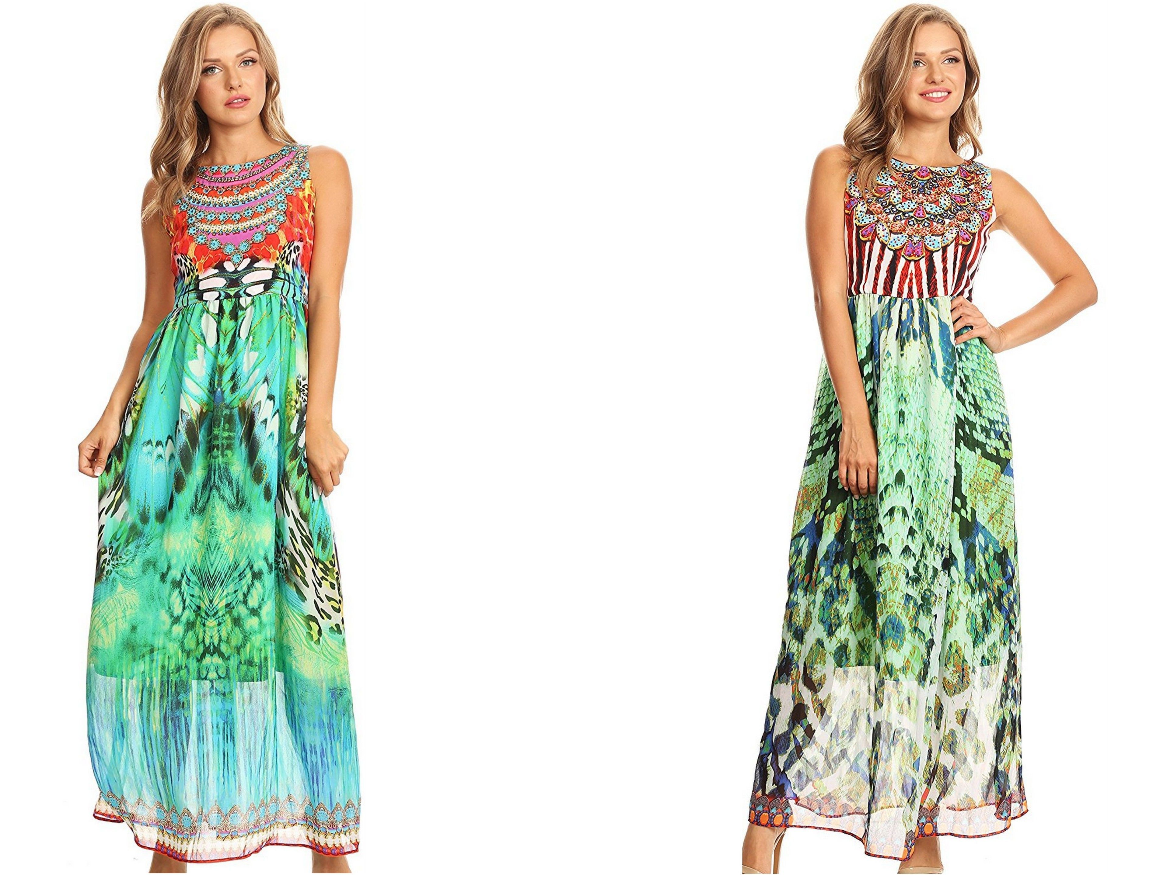 Sakkas afia animal print empire waist sleeveless long dress with