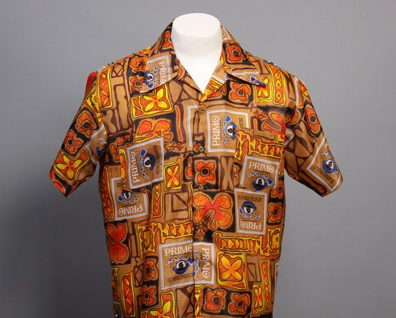 58ed3c44 Vintage 60s HAWAIIAN Primo Beer SHIRT - Men's Aloha Shirt | Aloha ...