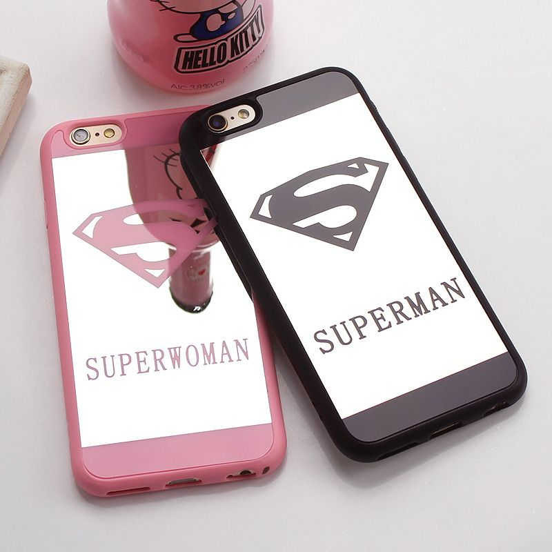 Luxury superman superwoman mirror surface tpu case for for Coque iphone 4 miroir