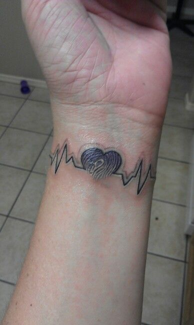 Daughters Thumb Print And Heart Beat Tattoos For Guys Tattoos