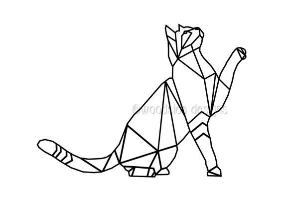 Geometric Cat Print, INSTANT DOWNLOAD, Wire Cat, Triangular Low Poly Art, Cat Printable, Black and W