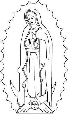 Virgin Mary Outline Coloring Pages