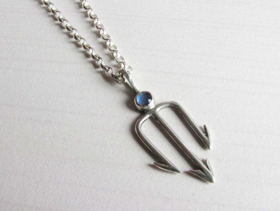 6cf1059771 Sterling Silver and Blue Opal Trident Pendant on silver chain on Etsy,  $103.59